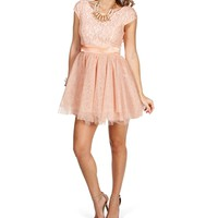 Tami- Blush Lace Short Dress