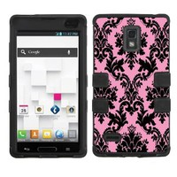 One Tough Shield Dual Layer Case (Victorian Black/Pink) with Clear Screen Protector for LG Optimus L9 P769 (T-Mobile)