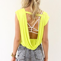 Lime Sleeveless Top with Draped Open Back