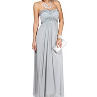 Neveen- Light Smoke Pleat Sequin Long Dress