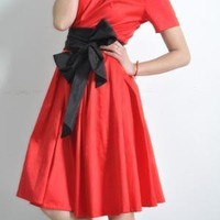 Red Black Cotton Short Sleeve Fitted Full Pleated by yystudio