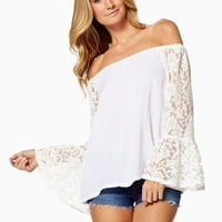 Elan International Off the Shoulder Top with Lace Sleeves in White