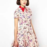 Antipodium Cry Baby Dress in Pink Picnic Print - Multi