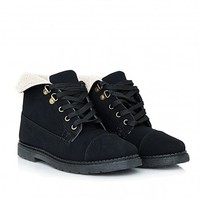 Missguided - Nisetta Shearling Lace Up Ankle Boots In Black