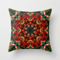 Red lily, blue sky and evergreen mandala VI Throw Pillow by RVJ Designs