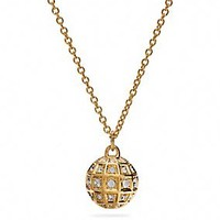 LONG BEVELED PAVE BALL NECKLACE