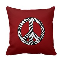 Red With Zebra Peace Sign Pillow