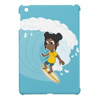 Surfing girl cartoon iPad case