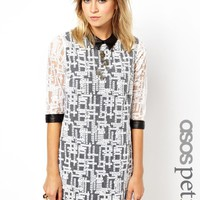 ASOS PETITE Exclusive Geo Embroidered Mini Dress with Leather Look Collar and Cuff