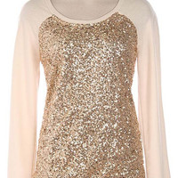 Gold Sequin Pullover Top Cream