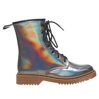 Hologram Combat Boot | Wet Seal