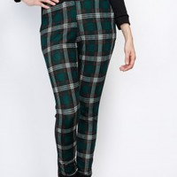 Plaid Knit Sweat Pants in Green