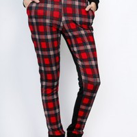 Plaid Knit Sweat Pants in Red