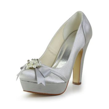 Jia Jia Women¡¯s Ladies Prom Bridal Wedding Shoes Size Women's Satin Chunky Heel Closed Toe Platform Pumps With Bowknot Imitation Pearl?