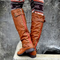 Wake Forest Chesnut Red Zipper Knee High Boots