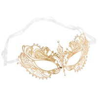Burlesque-Boutique Women's Laser Cut Metal Venetian Pretty Masquerade Mask, Gold/Clear Stones, One Size