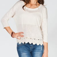 HIP Crochet Trim Womens Top