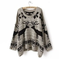 Woman's Cute Deer Loose Kint Cartoon Pattern Pullover Sweater for Free Necklace (Gray)