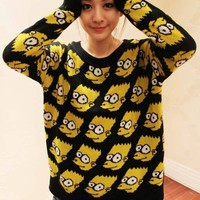 Lovely Cartoon Loose Long-sleeved Slim Sweater