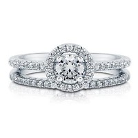 BERRICLE Round Cubic Zirconia CZ 925 Sterling Silver 2-Pc Halo Promise Engagement Wedding Ring Band Set 0.46 Ct