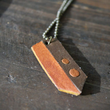 Brown leather pendant, geometric necklace with circles. For men, women or teens.