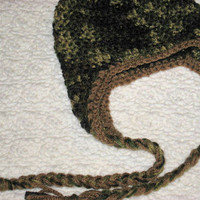 Little Hunter Camo and Brown Baby Beanie with Ear flaps and Braids Shower Gift,
