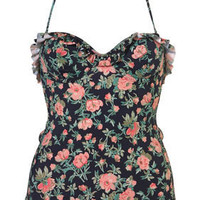 Navy Vintage Floral One Piece - Swimwear - Clothing - Topshop USA