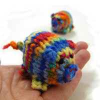 Rainbow piggy knitted baby toy, little pigs stuffed toy colorful handknit toy