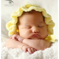 Newborn Vintage Look Bonnet, Baby Photo Prop, Knit Baby Hat, Yellow, Etsy Kids
