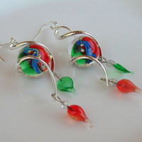 Lampwork Earrings, Spiral Hoops, Artisan Handmade Lampwork Jewelry for Her