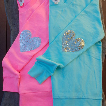 """10% off now thru 12/24/13 - The """"Dazzle Patch"""" Tiffany Blue Sweatshirt w/Gold Heart Sequin Elbow Patch"""
