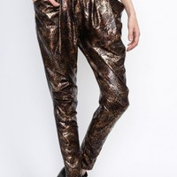 Bronze Animal Print Harem Pants