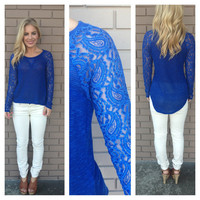 Royal Blue Paisley Lace Sleeve Top