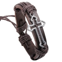 Ladies Christian Cross Charm on Handmade Leather Bracelet with Surfer Rope Accents