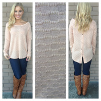 Pink Button Back Knit Sweater Top