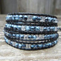 Beaded Leather Wrap Bracelet 4 or 5 Wrap with Gray and Black Marbled Czech Glass Beads on Black Leather
