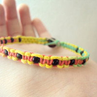 Beaded Hemp Bracelet Rasta Hemp Jewelry Rasta Men's Hemp Bracelet