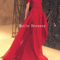 Custom Made Red A line Cap Sleeves Floor Length Prom Dresses, New Year Party Dresses 2014, Evening Dresses, Formal Dresses