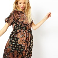 ASOS Smock Dress With Floral Paisley Burnout