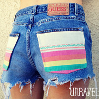 High Waisted Shorts Navajo Pockets Size SMALL by UnraveledClothing