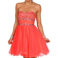 Pre-Order: Mandoline-Strawberry Neon Prom Dress
