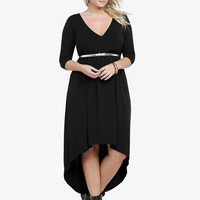 Faux Wrap Hi-Lo Dress