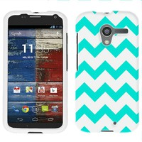 Motorola Moto X Chevron Turquoise and White Pattern Phone Case Cover