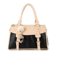 Sweet Fashion Ladies Fresh Pendant Tonal Stitching Sweet Tote Shoulder Bag
