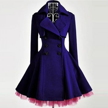 Slim 360 Degree Purple Hemline Coat