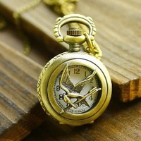 "Vintage Inspired Hunger Games Pendant Pocket Watch Necklace with 30"" Bronze Antique Chain - Bronze"