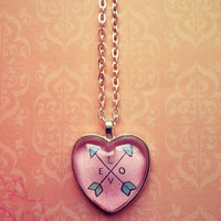 Love - arrows- glass dome heart necklace for tween or teen girl