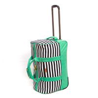 deux lux: Raleigh Green, Black & White Stripe Rolling Suitcase Luggage