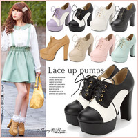 AOr by plain color lace-up pumps◆1/15 ships planned