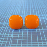 Orange Post Earrings, Halloween Jewelry - Pumpkin - 1932